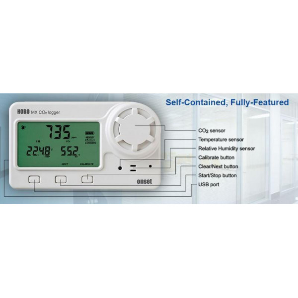 Wireless CO2, temperature and relative humidity logger with display